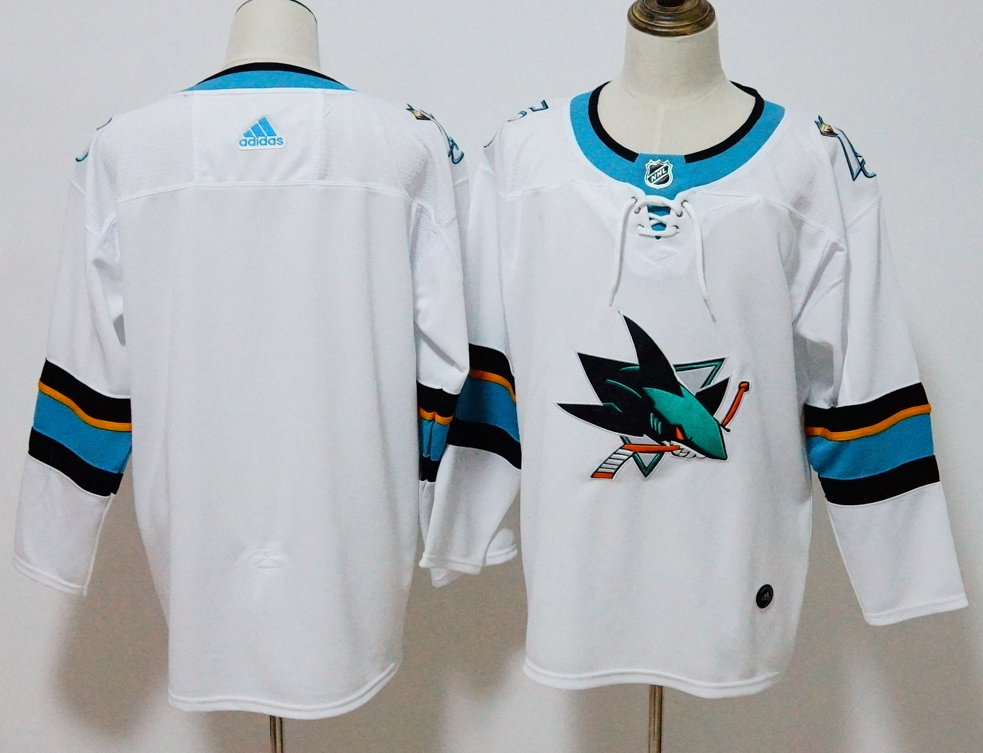 Men San Jose Sharks Blank White Hockey Stitched Adidas NHL Jerseys