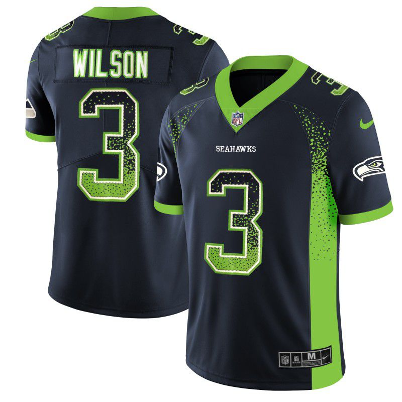 Men Seattle Seahawks 3 Wilson Blue Drift Fashion Color Rush Limited NFL Jerseys