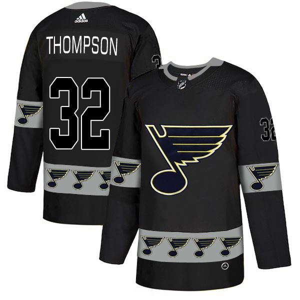 Men St.Louis Blues 32 Thompson Black Adidas Fashion NHL Jersey