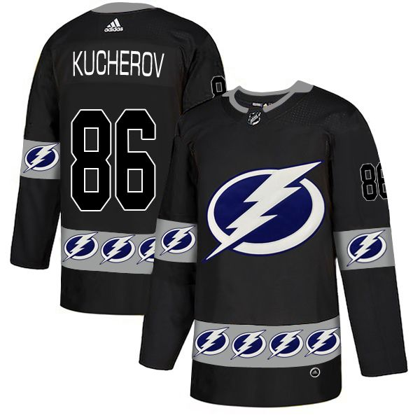 Men Tampa Bay Lightning 86 Kucherov Black Adidas Fashion NHL Jersey