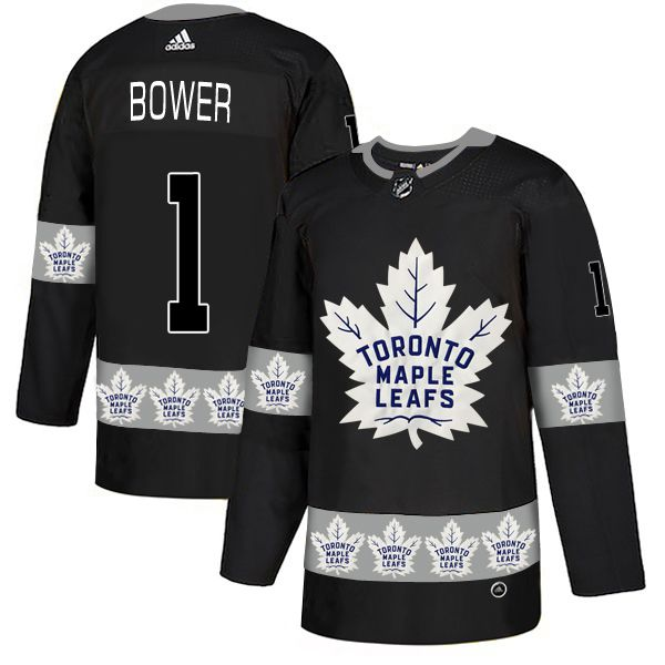 Men Toronto Maple Leafs 1 Bower Black Adidas Fashion NHL Jersey