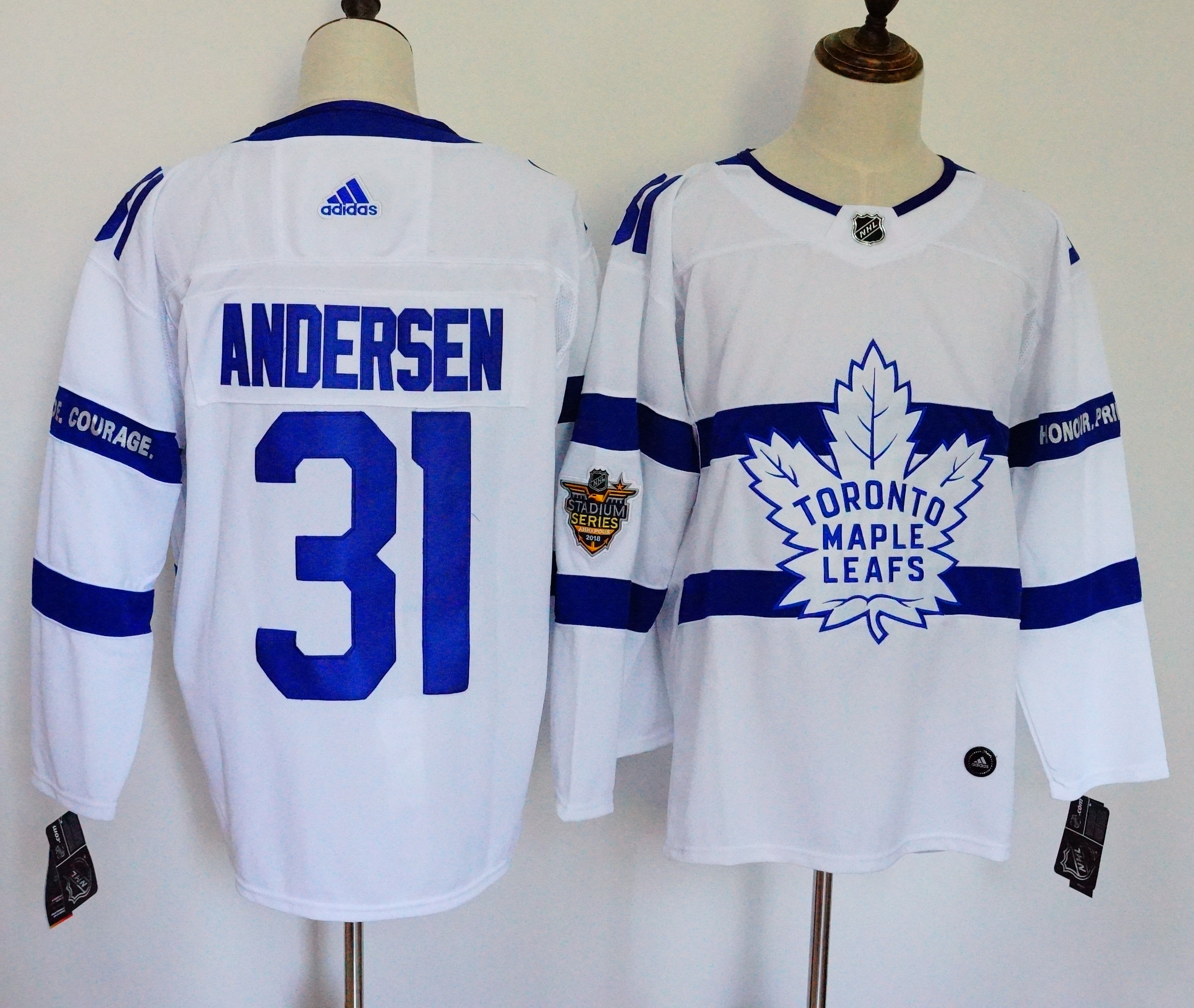 Men Toronto Maple Leafs 31 Andersen White Adidas AD NHL Jerseys
