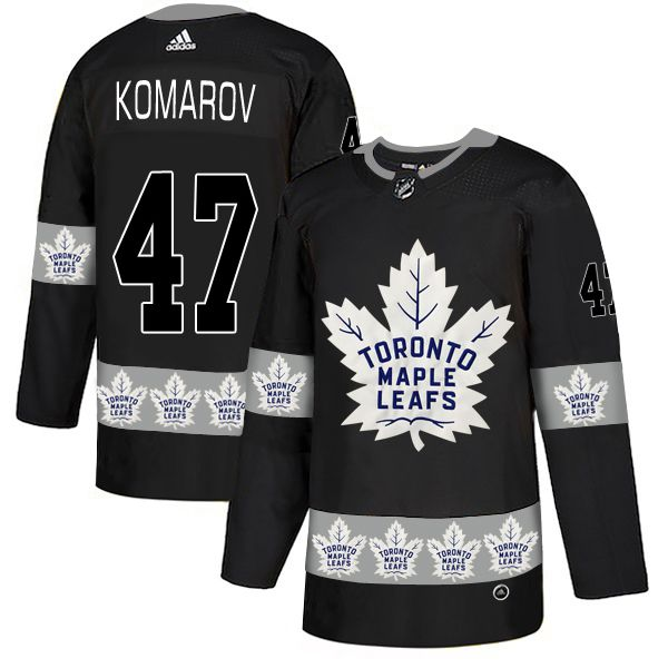 Men Toronto Maple Leafs 47 Komarov Black Adidas Fashion NHL Jersey