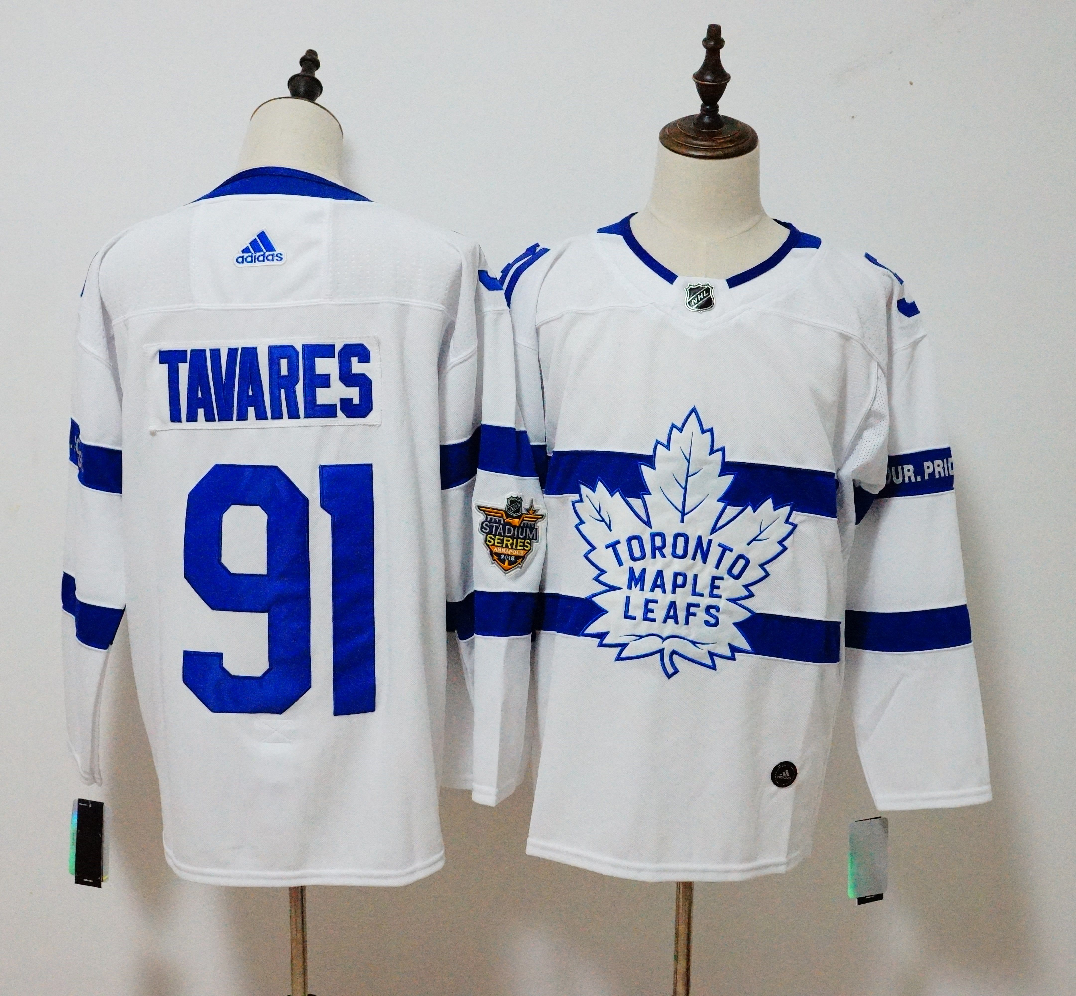 Men Toronto Maple Leafs 91 Tavares White Adidas AD NHL Jerseys
