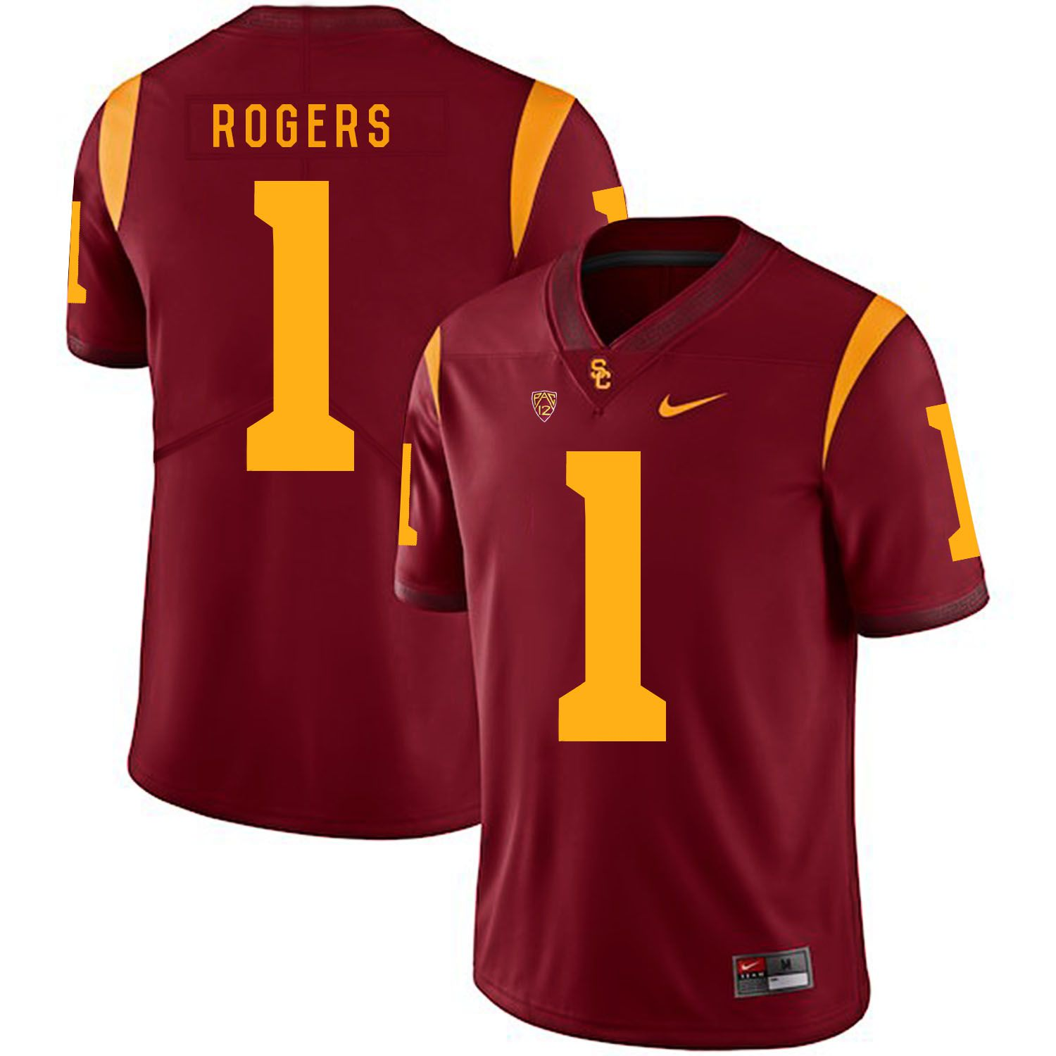 Men USC Trojans 1 Rogers Red Customized NCAA Jerseys