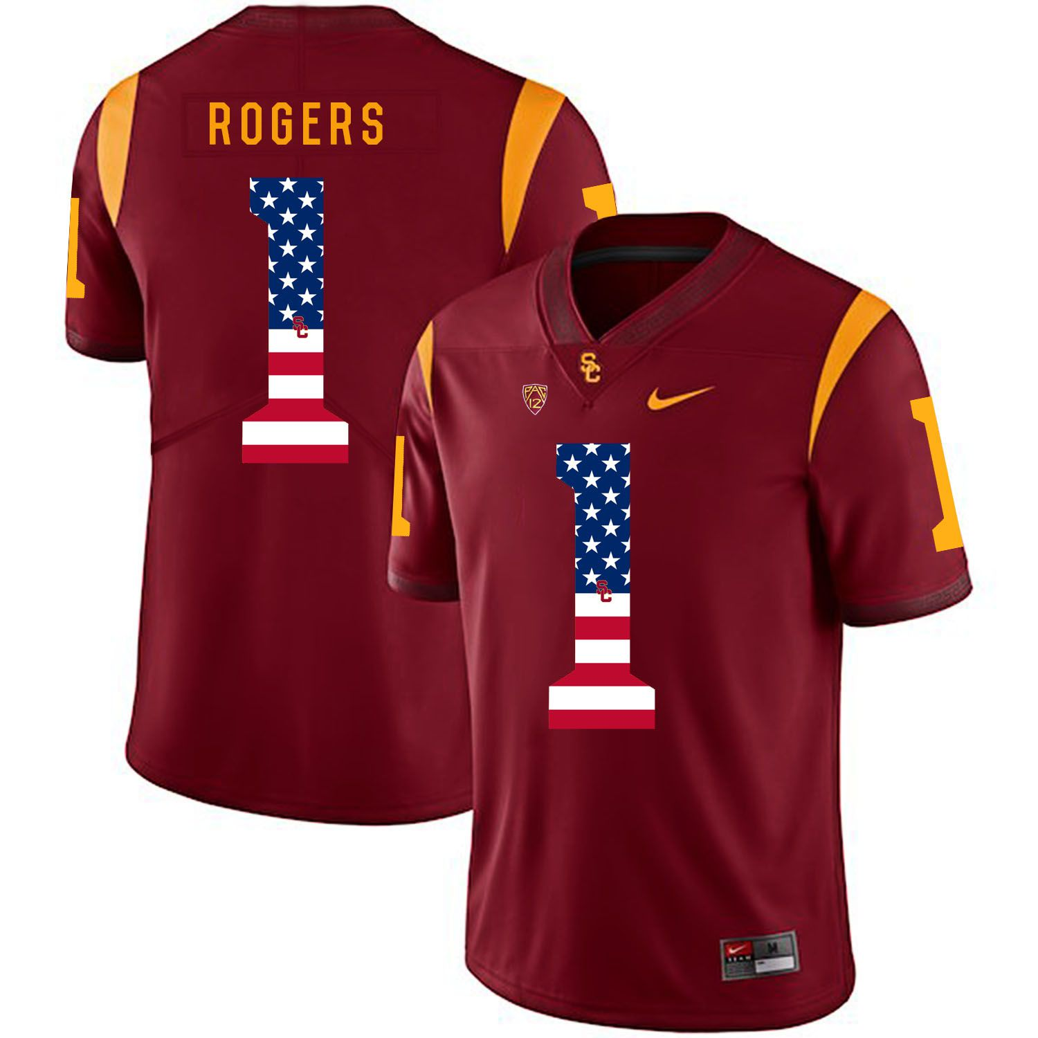 Men USC Trojans 1 Rogers Red Flag Customized NCAA Jerseys