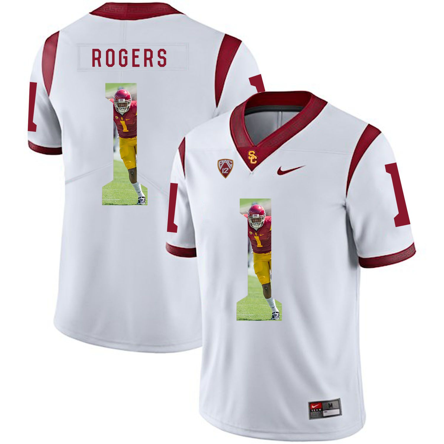 Men USC Trojans 1 Rogers White Fashion Edition Customized NCAA Jerseys