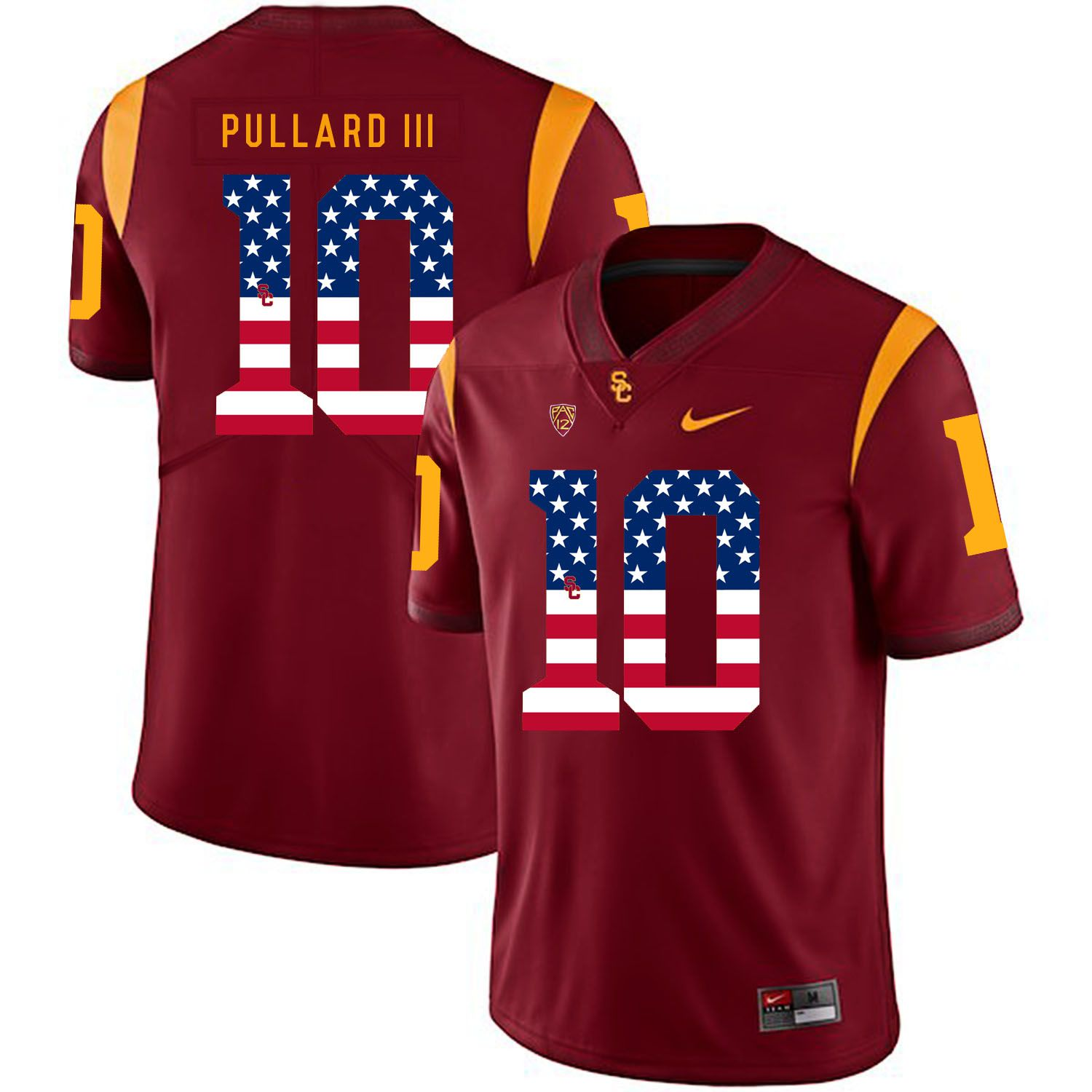 Men USC Trojans 10 Pullard iii Red Flag Customized NCAA Jerseys