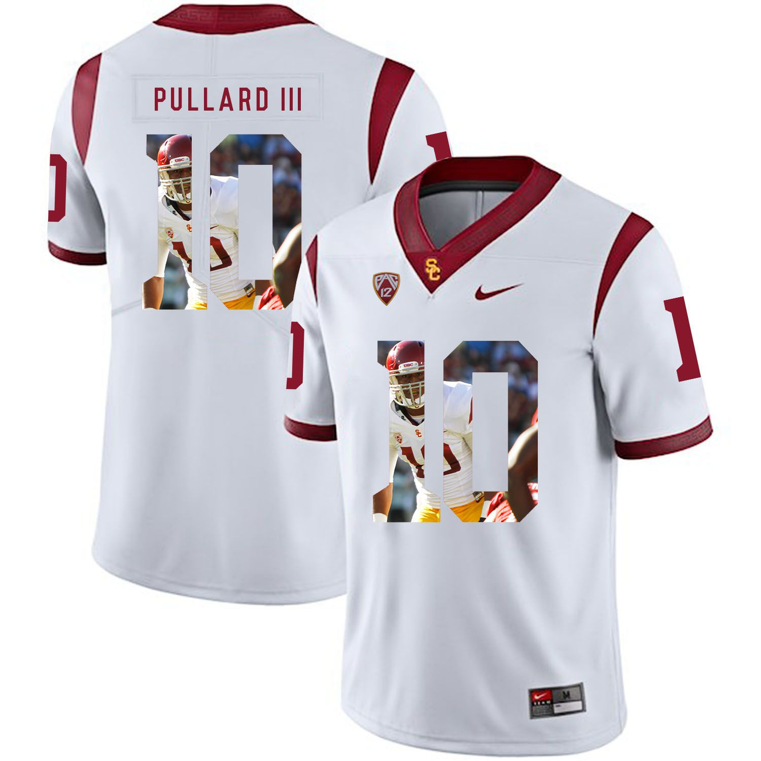 Men USC Trojans 10 Pullard iii White Fashion Edition Customized NCAA Jerseys