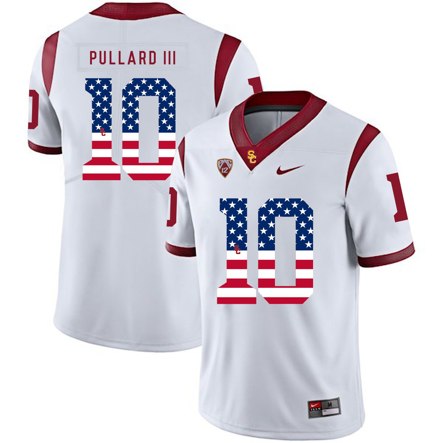 Men USC Trojans 10 Pullard iii White Flag Customized NCAA Jerseys