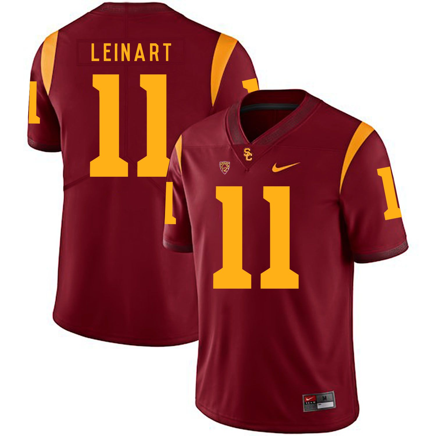 Men USC Trojans 11 Leinart Red Customized NCAA Jerseys