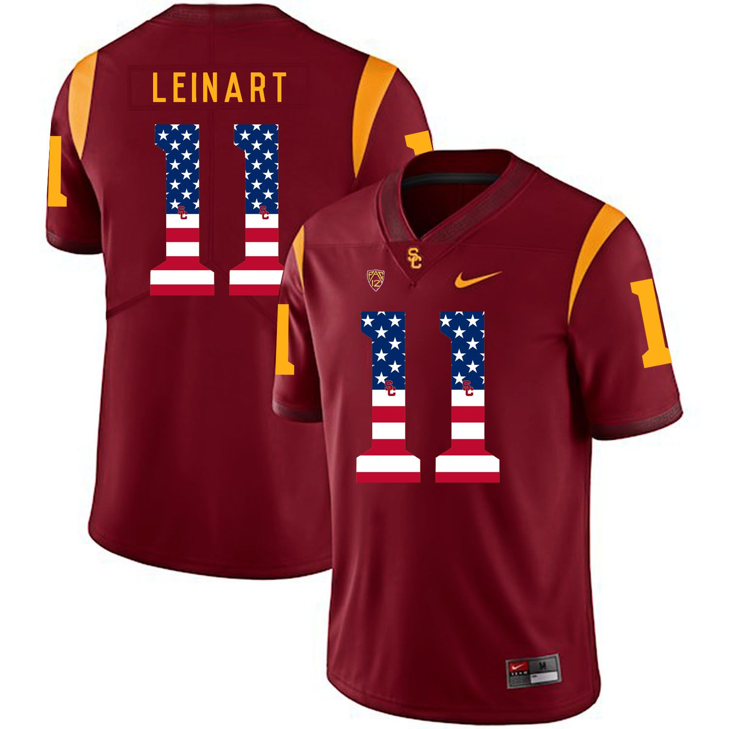 Men USC Trojans 11 Leinart Red Flag Customized NCAA Jerseys