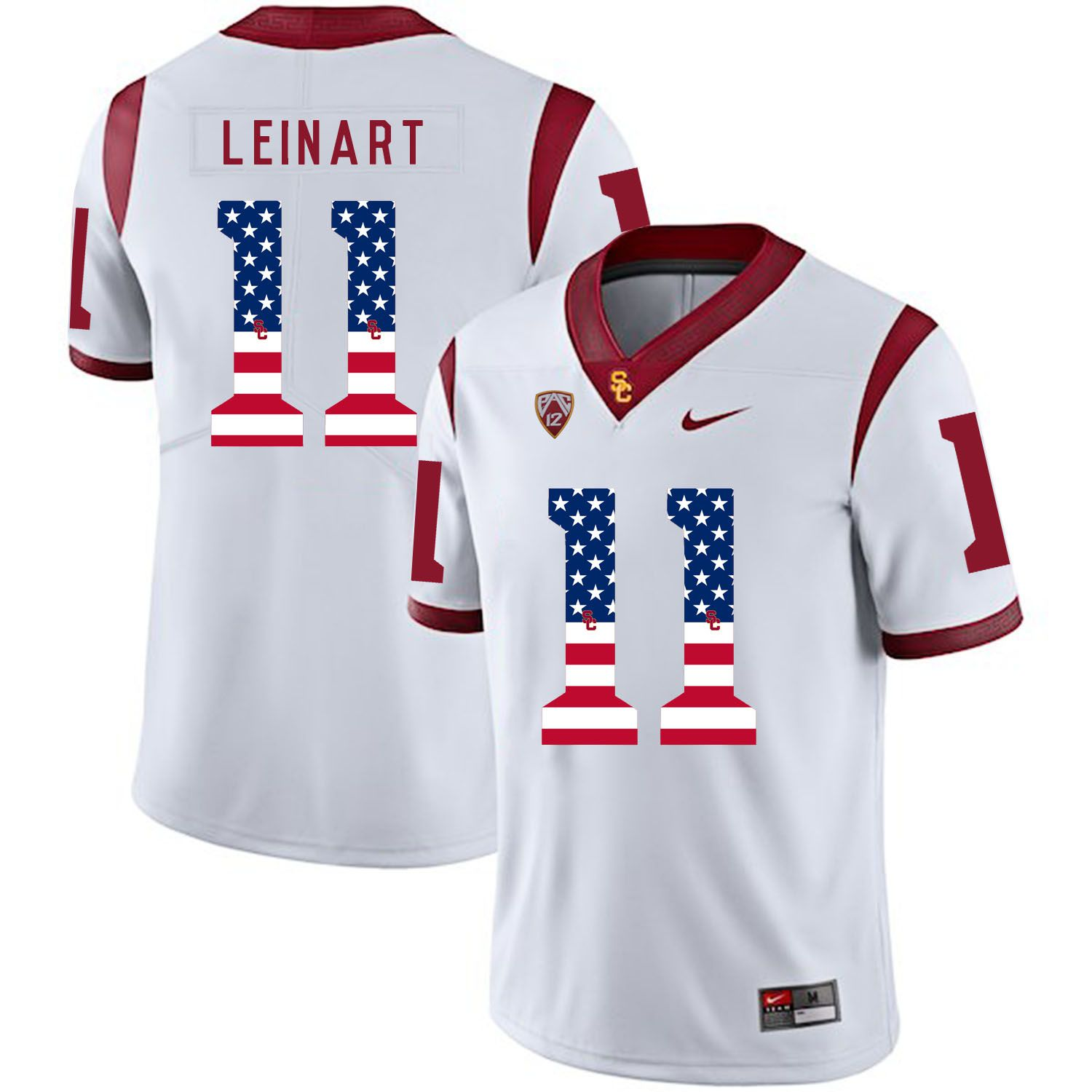 Men USC Trojans 11 Leinart White Flag Customized NCAA Jerseys