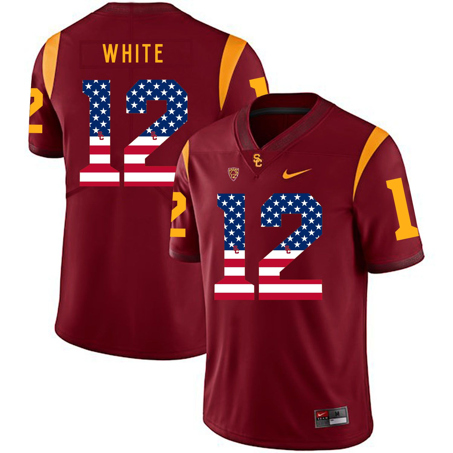 Men USC Trojans 12 White Red Flag Customized NCAA Jerseys