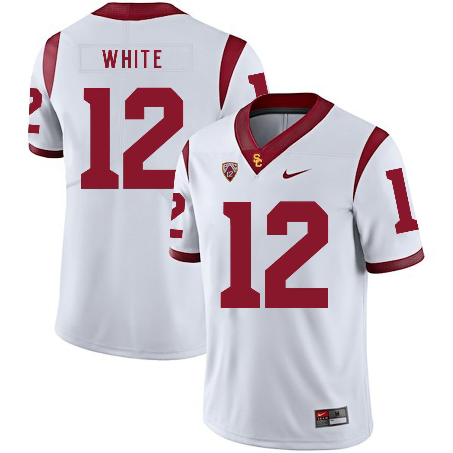 Men USC Trojans 12 White White Customized NCAA Jerseys