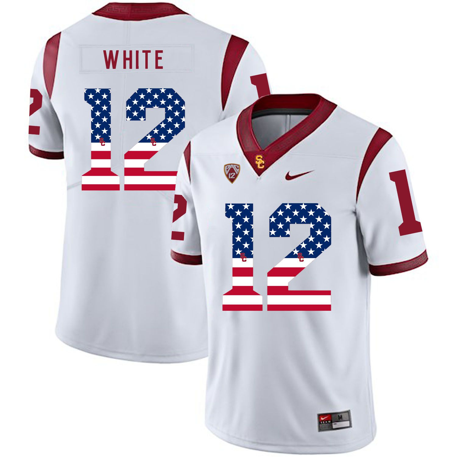 Men USC Trojans 12 White White Flag Customized NCAA Jerseys