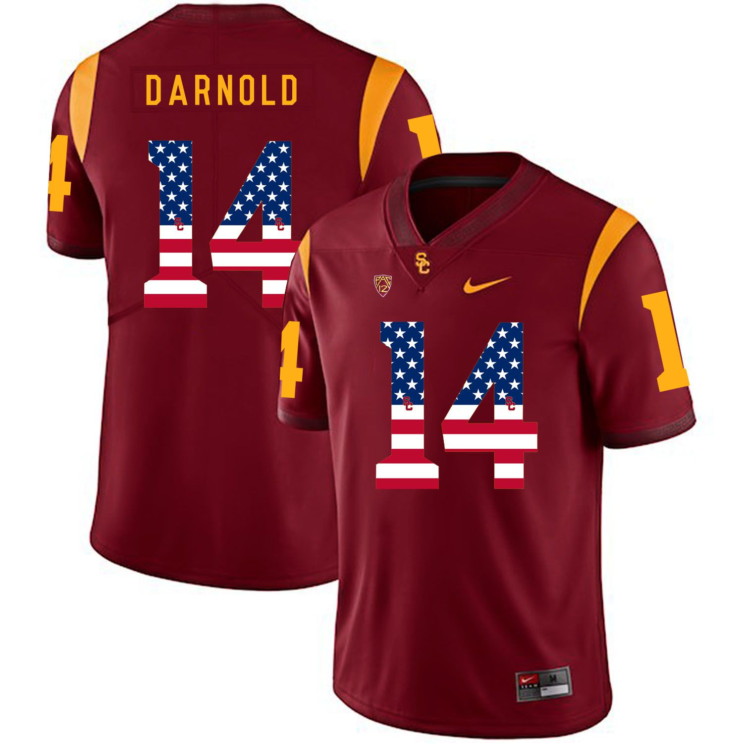 Men USC Trojans 14 Darnold Red Flag Customized NCAA Jerseys