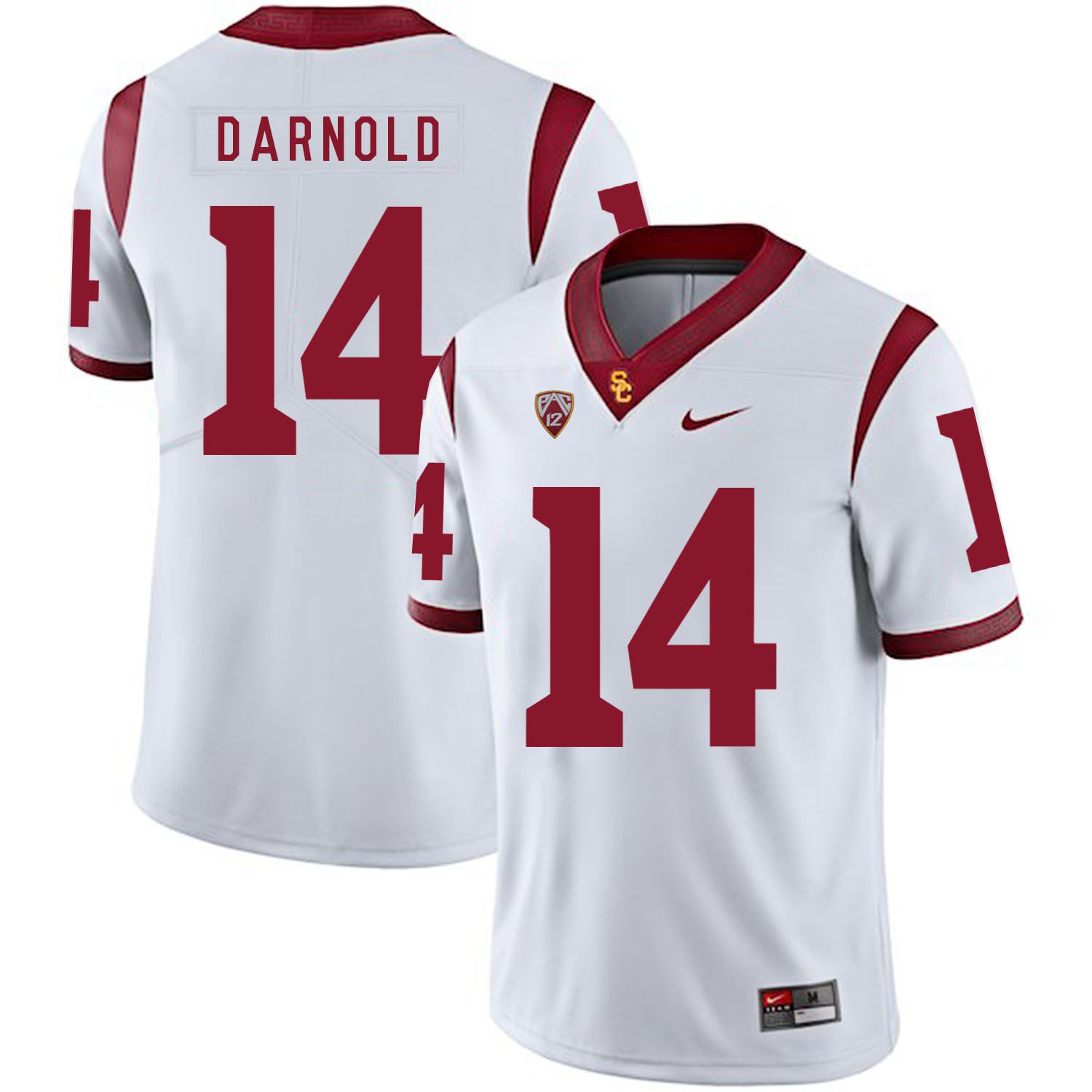 Men USC Trojans 14 Darnold White Customized NCAA Jerseys