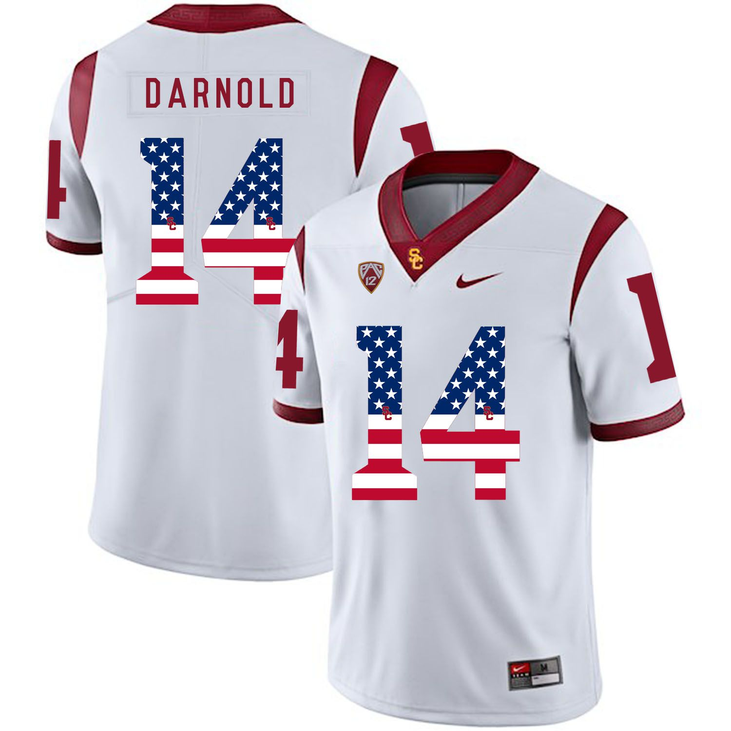 Men USC Trojans 14 Darnold White Flag Customized NCAA Jerseys
