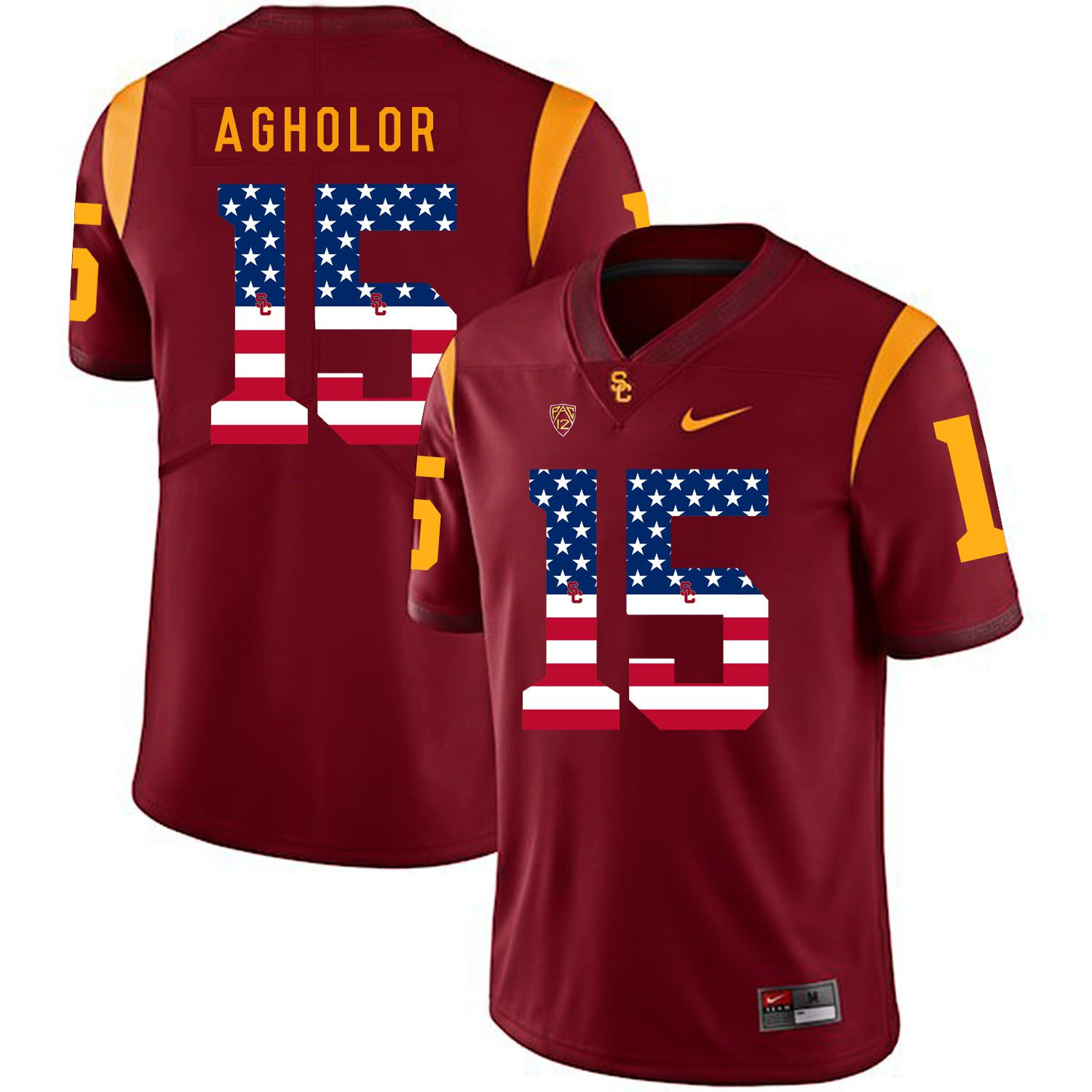Men USC Trojans 15 Agholor Red Flag Customized NCAA Jerseys