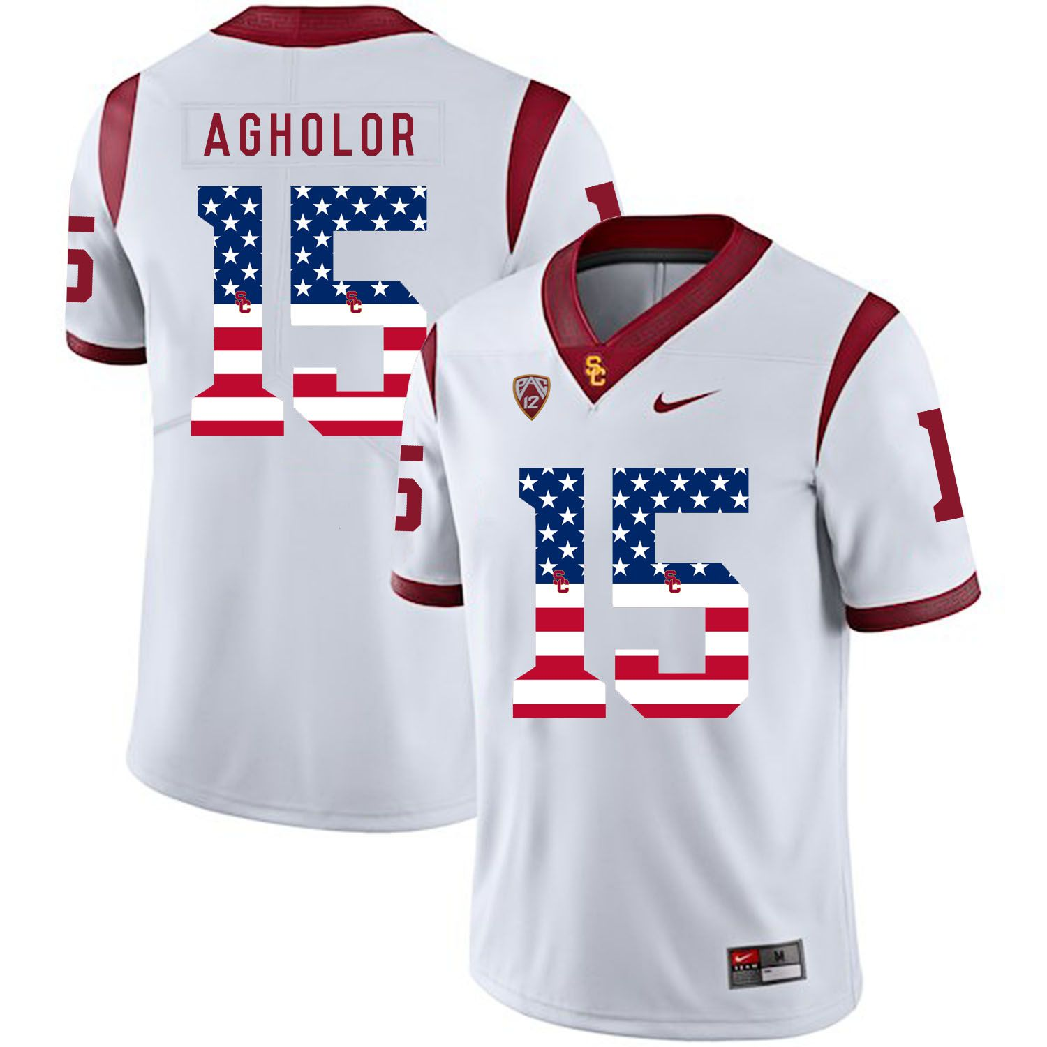 Men USC Trojans 15 Agholor White Flag Customized NCAA Jerseys