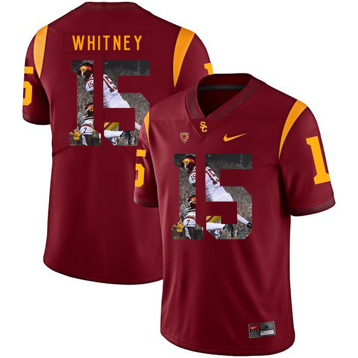 Men USC Trojans 15 Whitney Red Fashion Edition Customized NCAA Jerseys