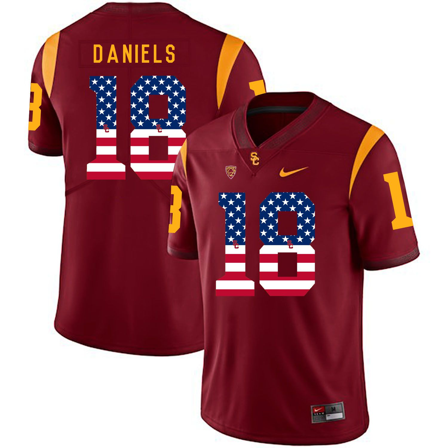 Men USC Trojans 18 Daniels Red Flag Customized NCAA Jerseys