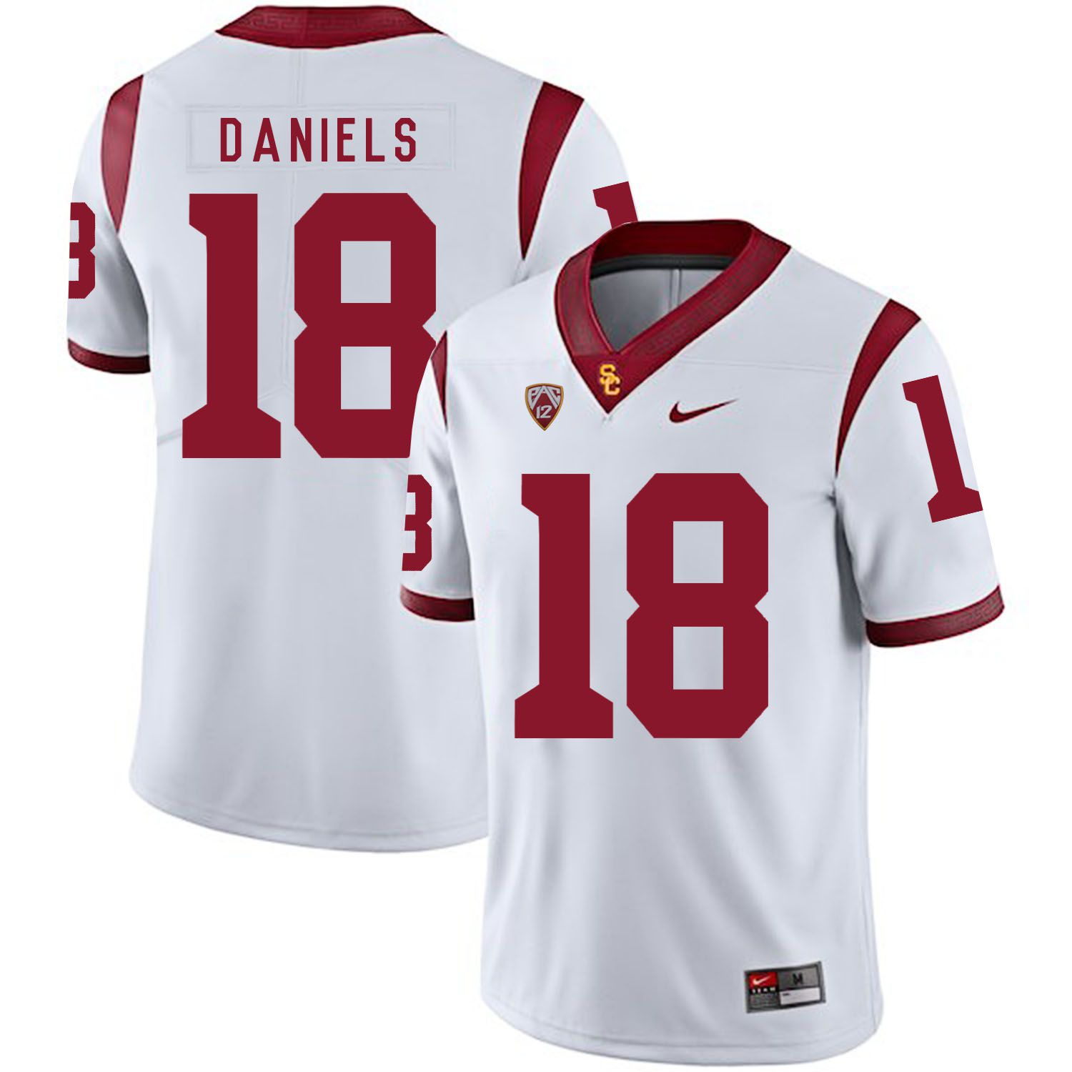 Men USC Trojans 18 Daniels White Customized NCAA Jerseys