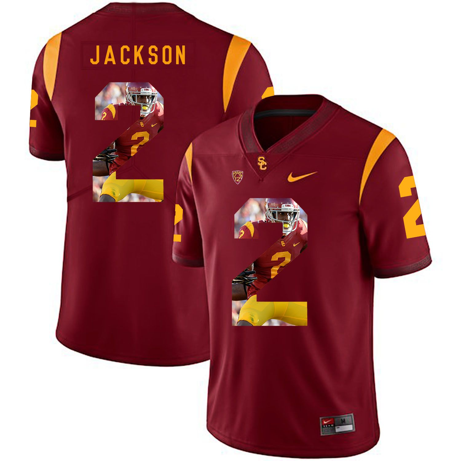 Men USC Trojans 2 Jackson Red Fashion Edition Customized NCAA Jerseys