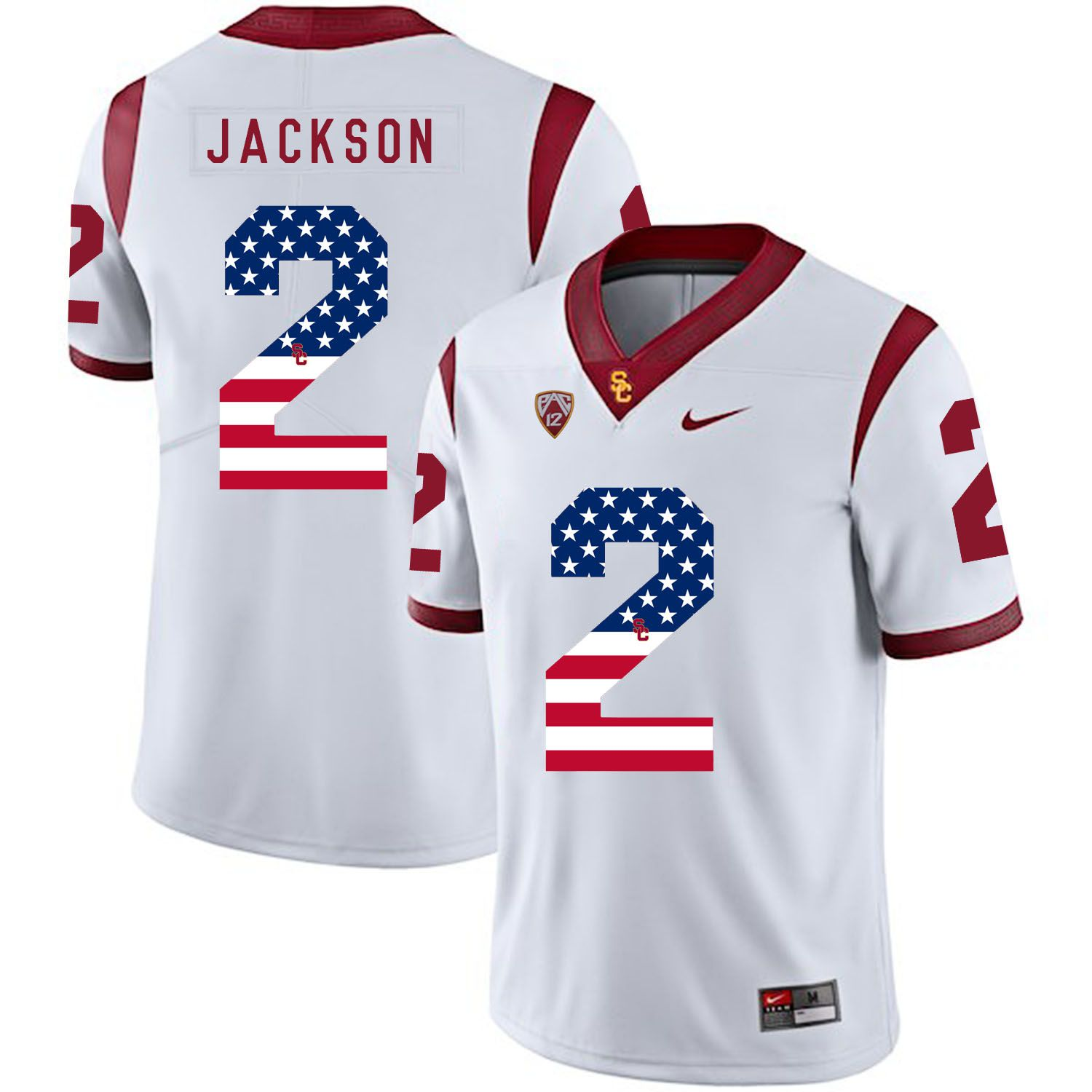 Men USC Trojans 2 Jackson White Flag Customized NCAA Jerseys