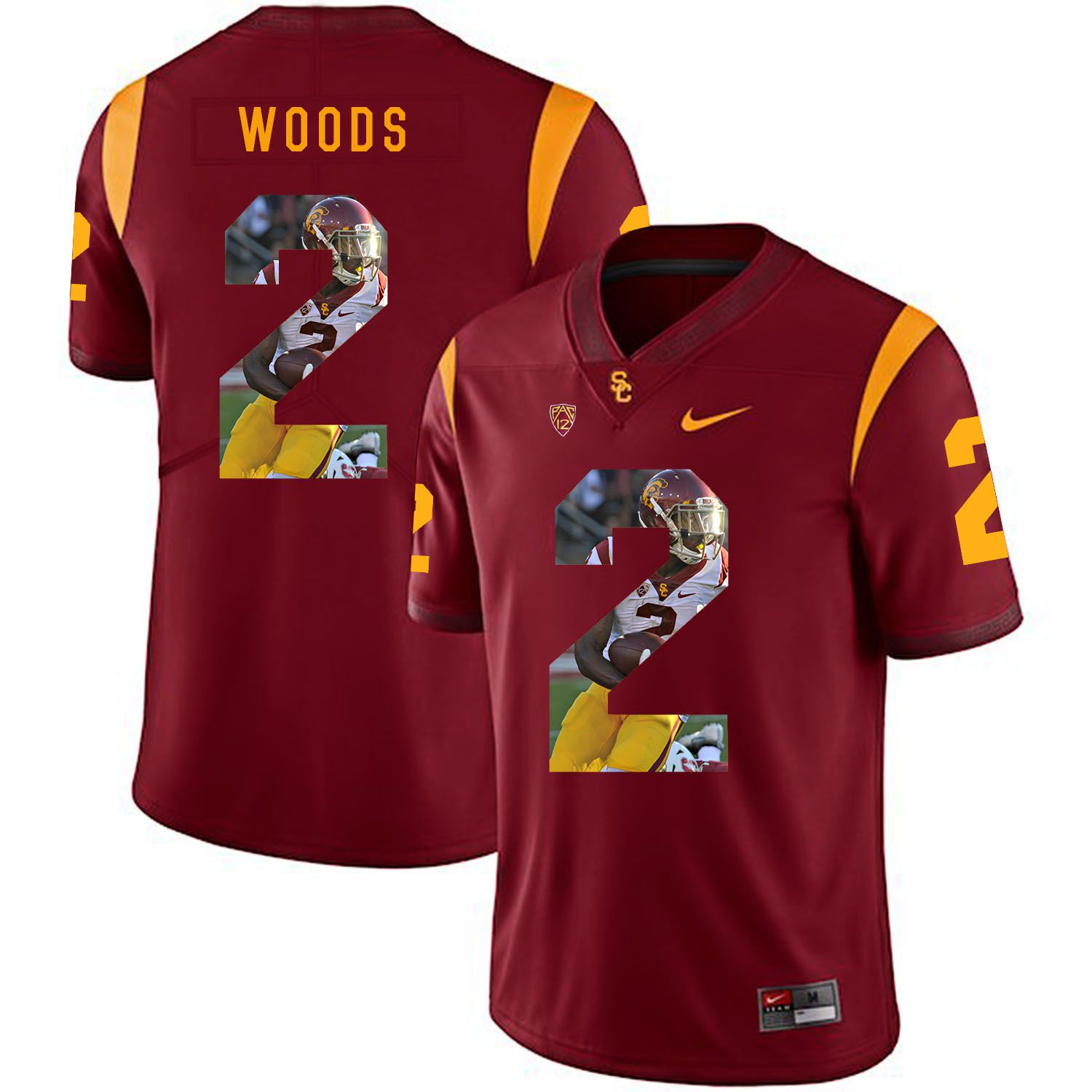 Men USC Trojans 2 Woods Red Fashion Edition Customized NCAA Jerseys