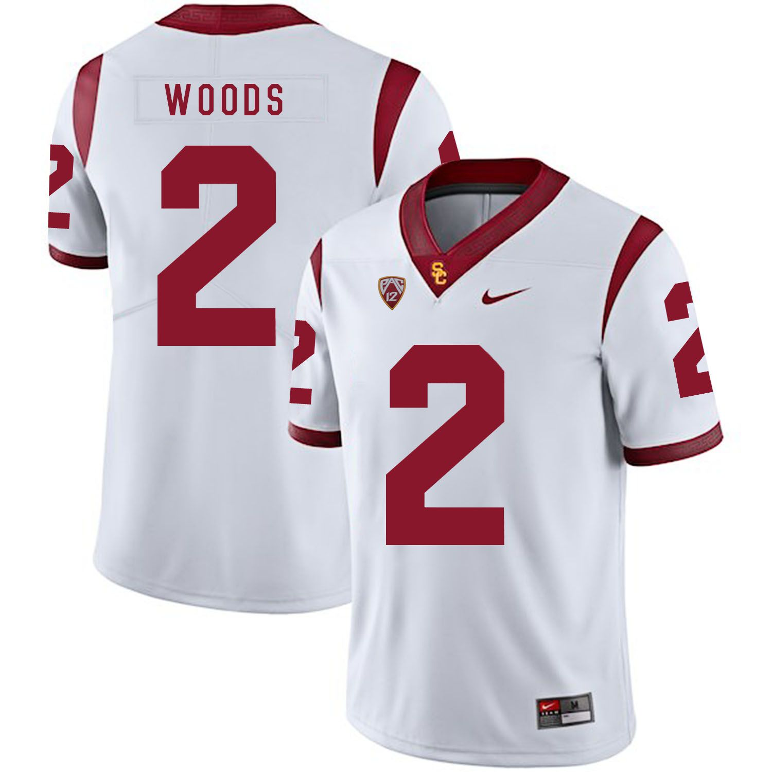 Men USC Trojans 2 Woods White Customized NCAA Jerseys