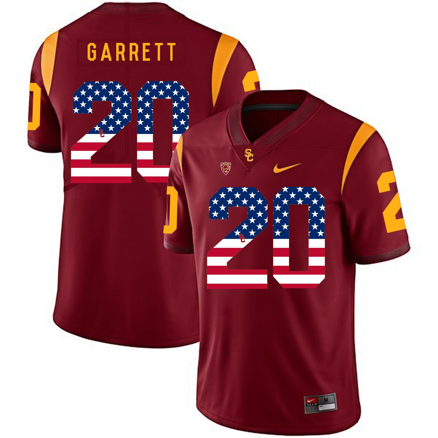 Men USC Trojans 20 Garrett Red Flag Customized NCAA Jerseys