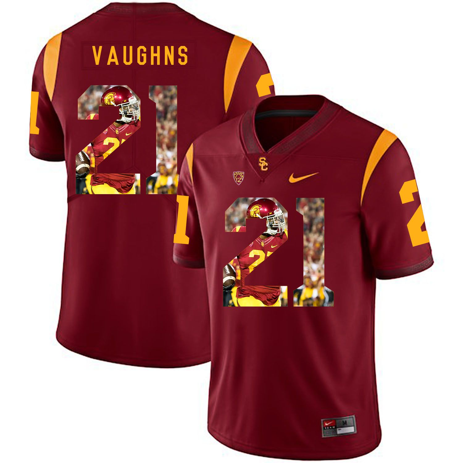 Men USC Trojans 21 Vaughns Red Fashion Edition Customized NCAA Jerseys