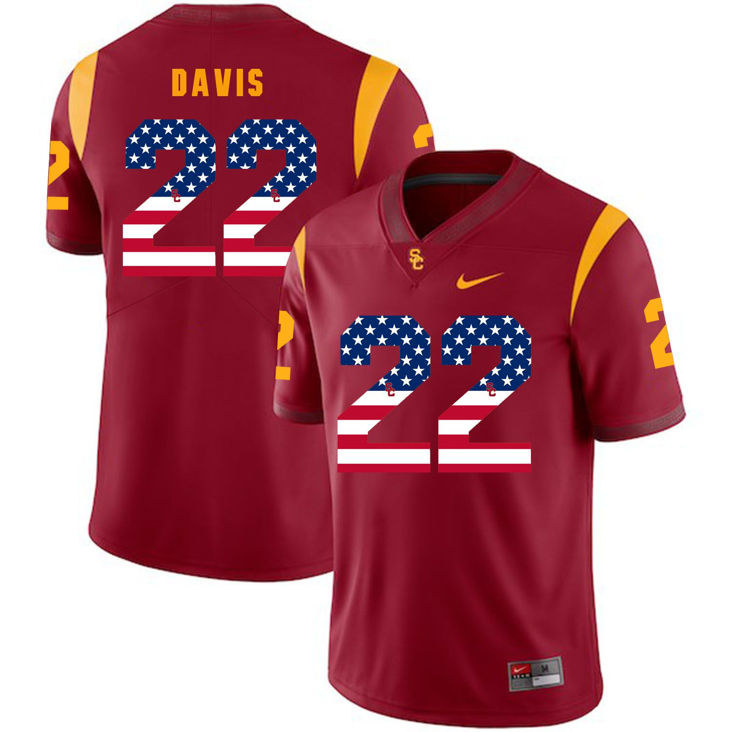 Men USC Trojans 22 Davis Red Flag Customized NCAA Jerseys