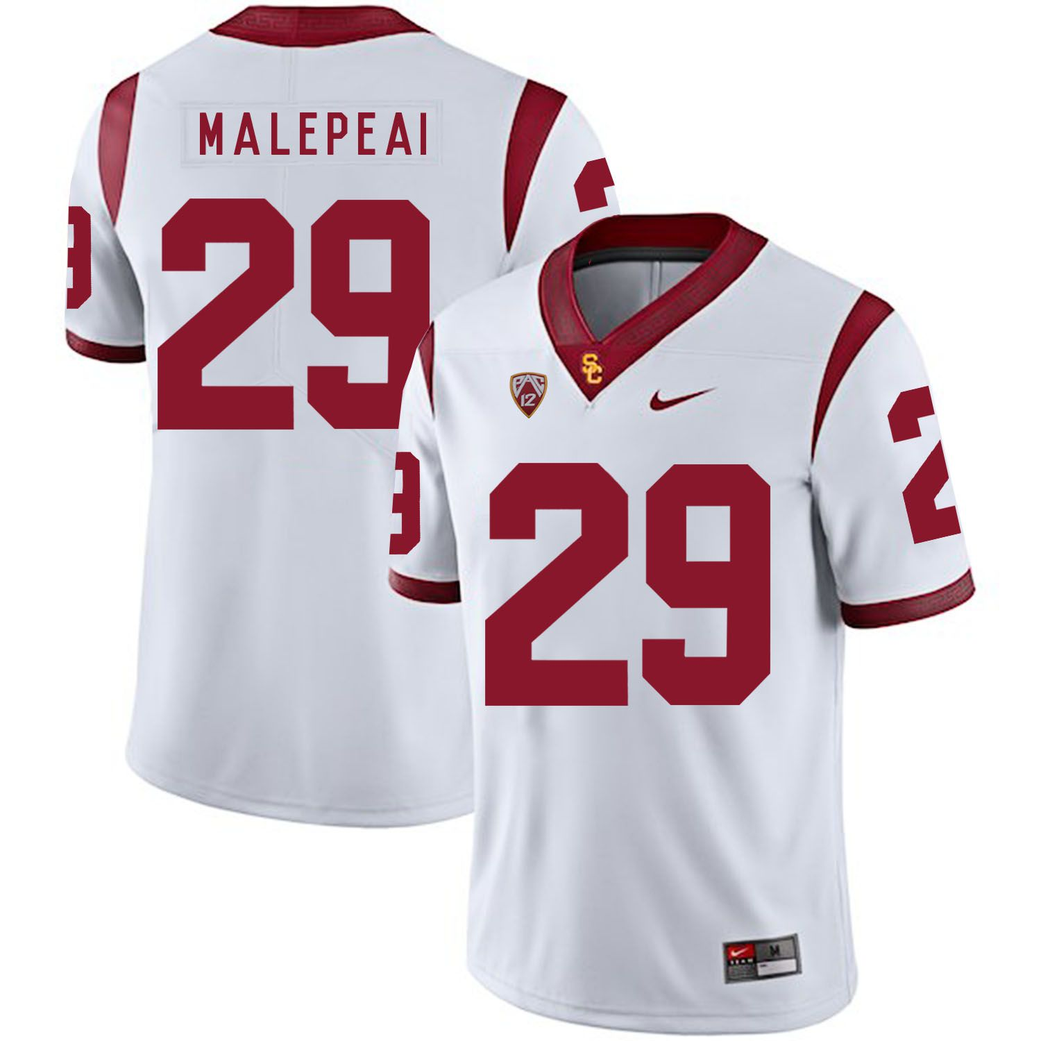 Men USC Trojans 29 Malepeal White Customized NCAA Jerseys