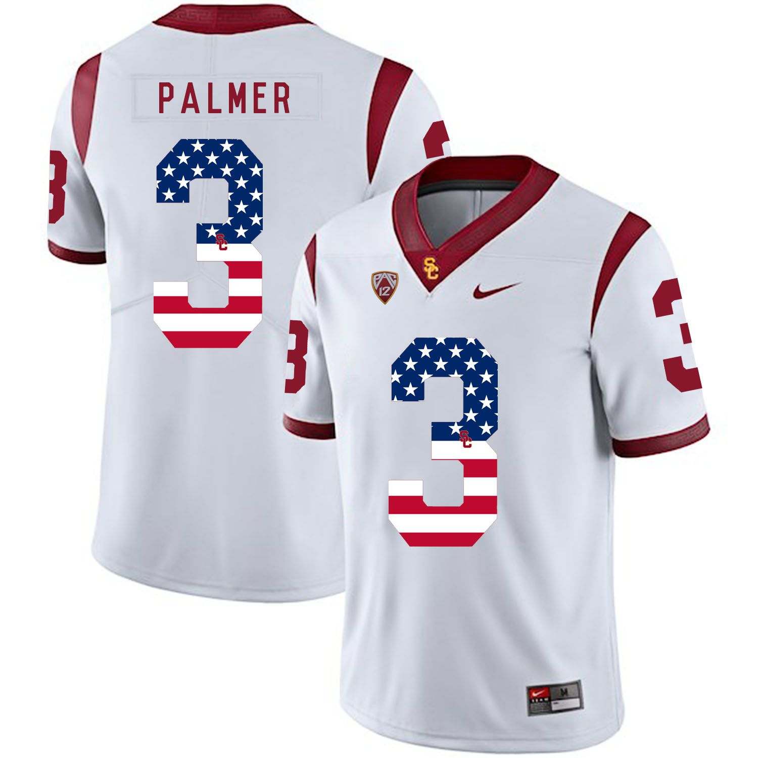 Men USC Trojans 3 Palmer White Flag Customized NCAA Jerseys