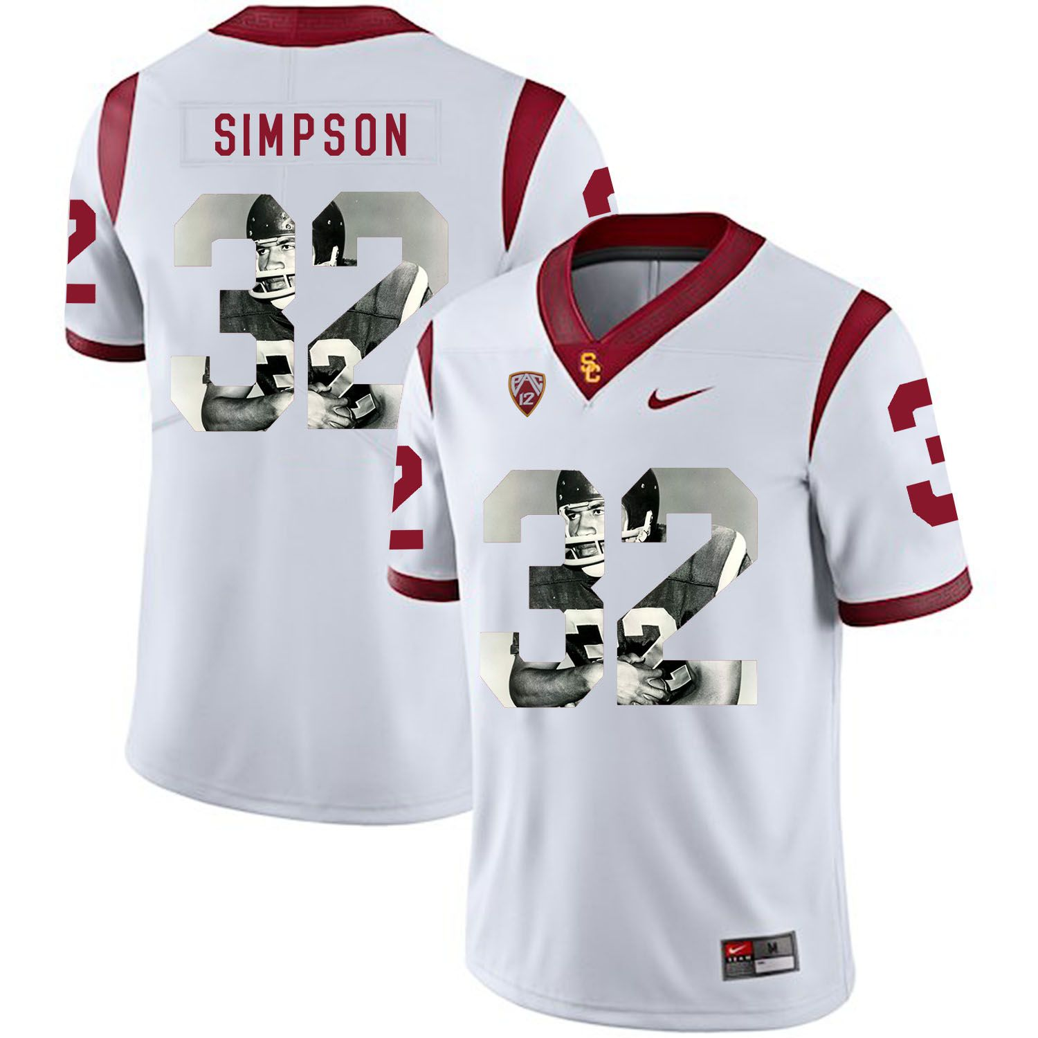 Men USC Trojans 32 Simpson White Fashion Edition Customized NCAA Jerseys