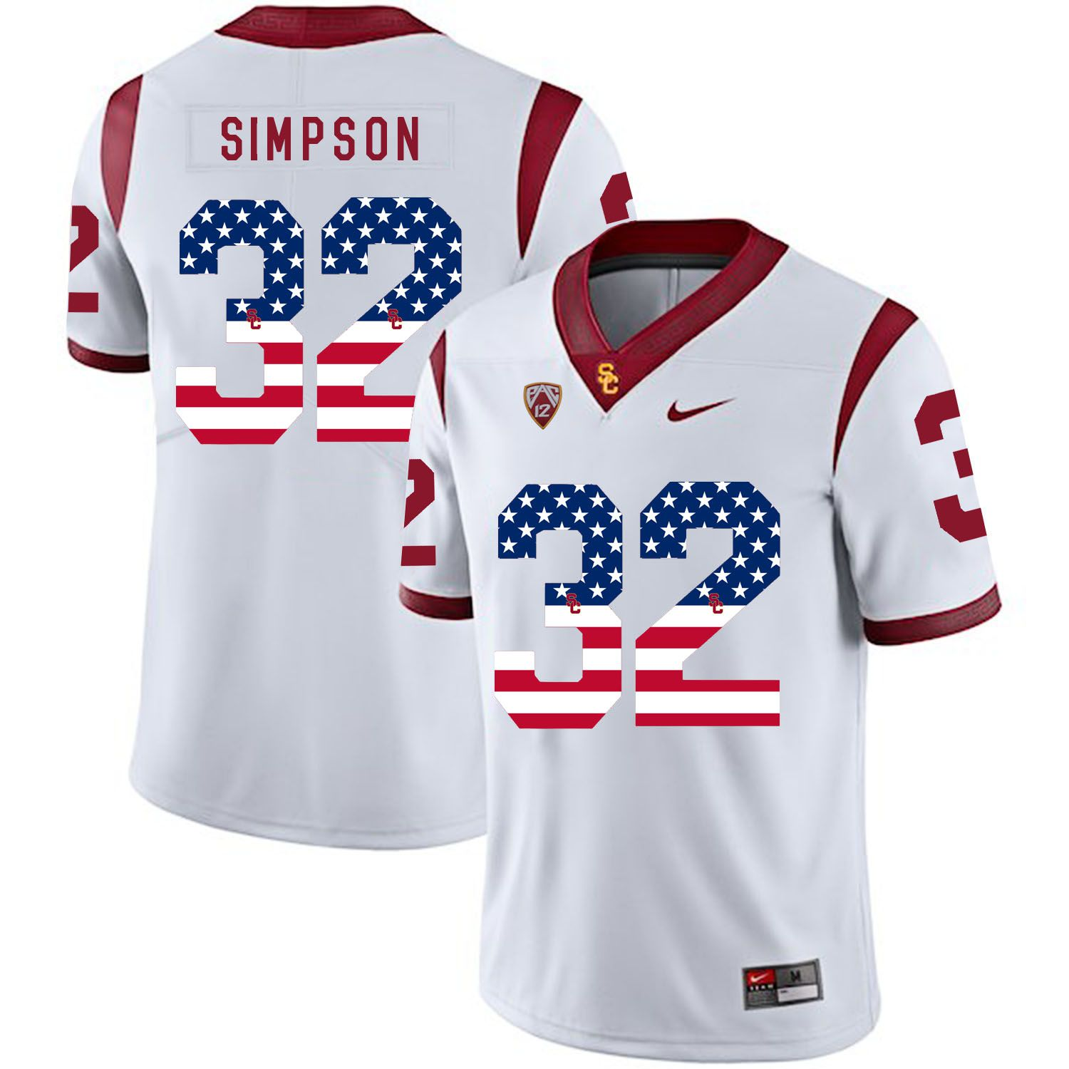 Men USC Trojans 32 Simpson White Flag Customized NCAA Jerseys