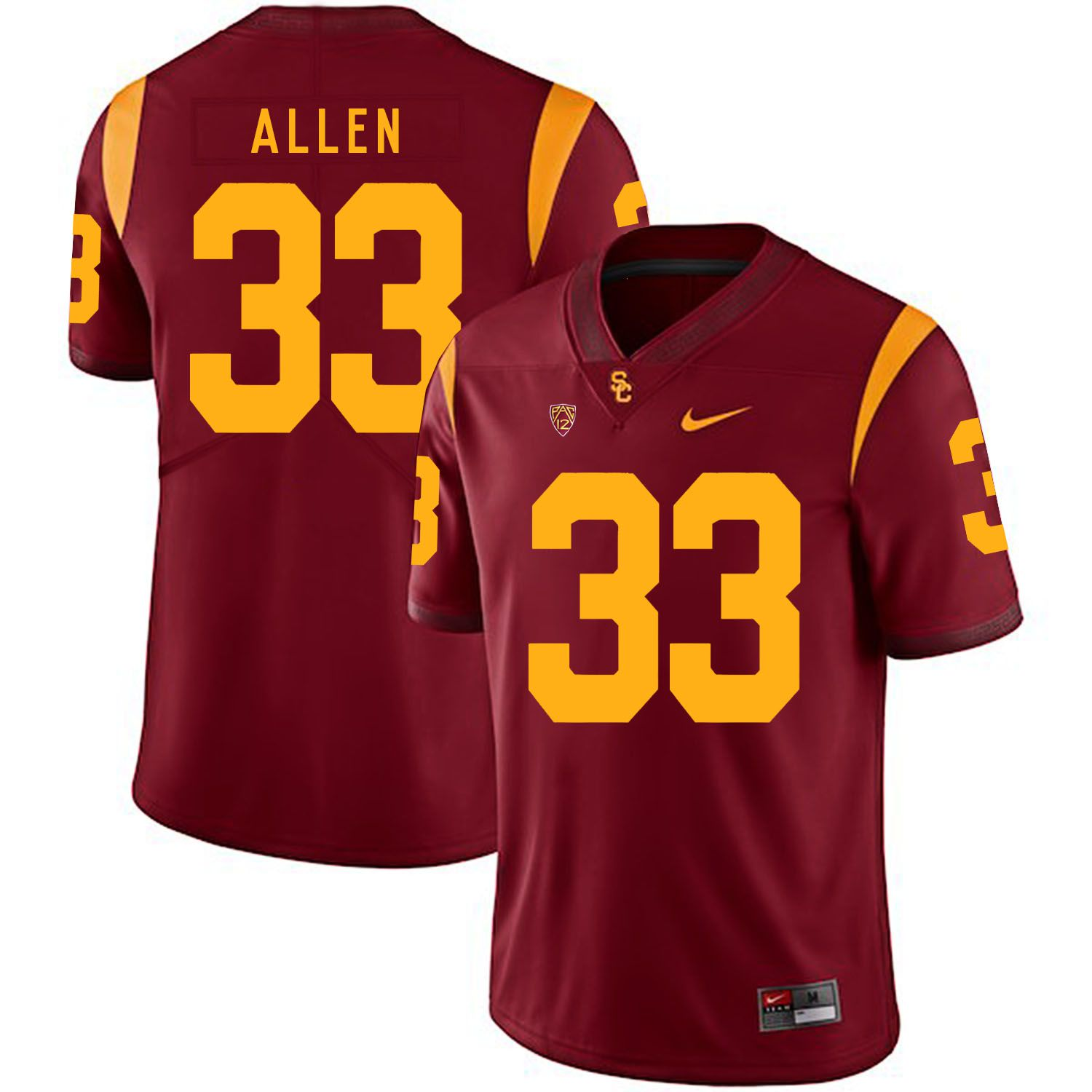 Men USC Trojans 33 Allen Red Customized NCAA Jerseys