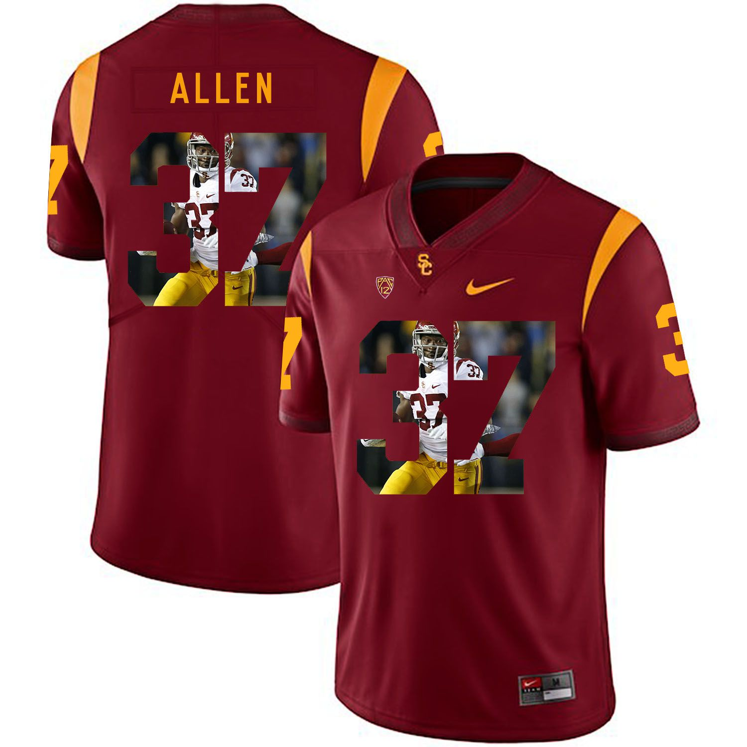 Men USC Trojans 37 Allen Red Fashion Edition Customized NCAA Jerseys