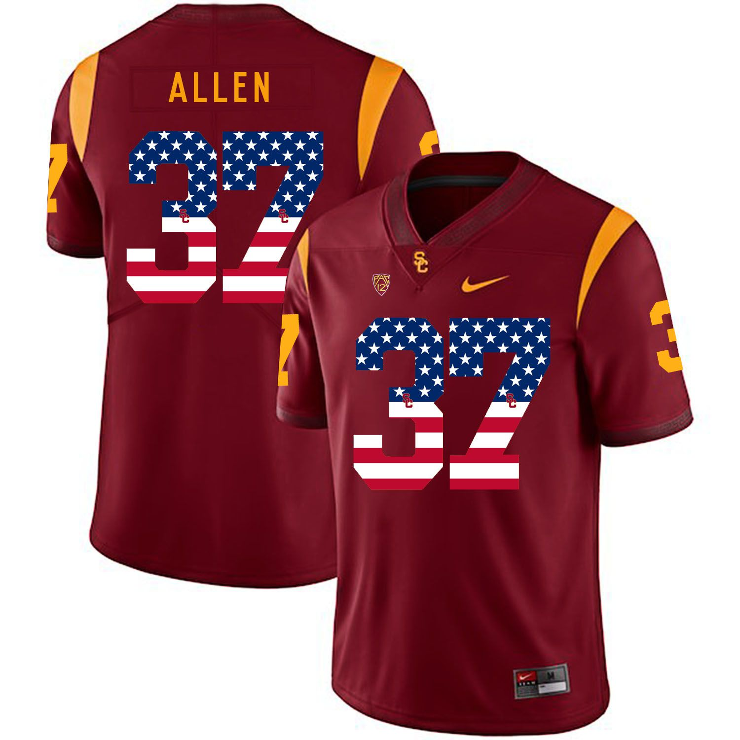 Men USC Trojans 37 Allen Red Flag Customized NCAA Jerseys