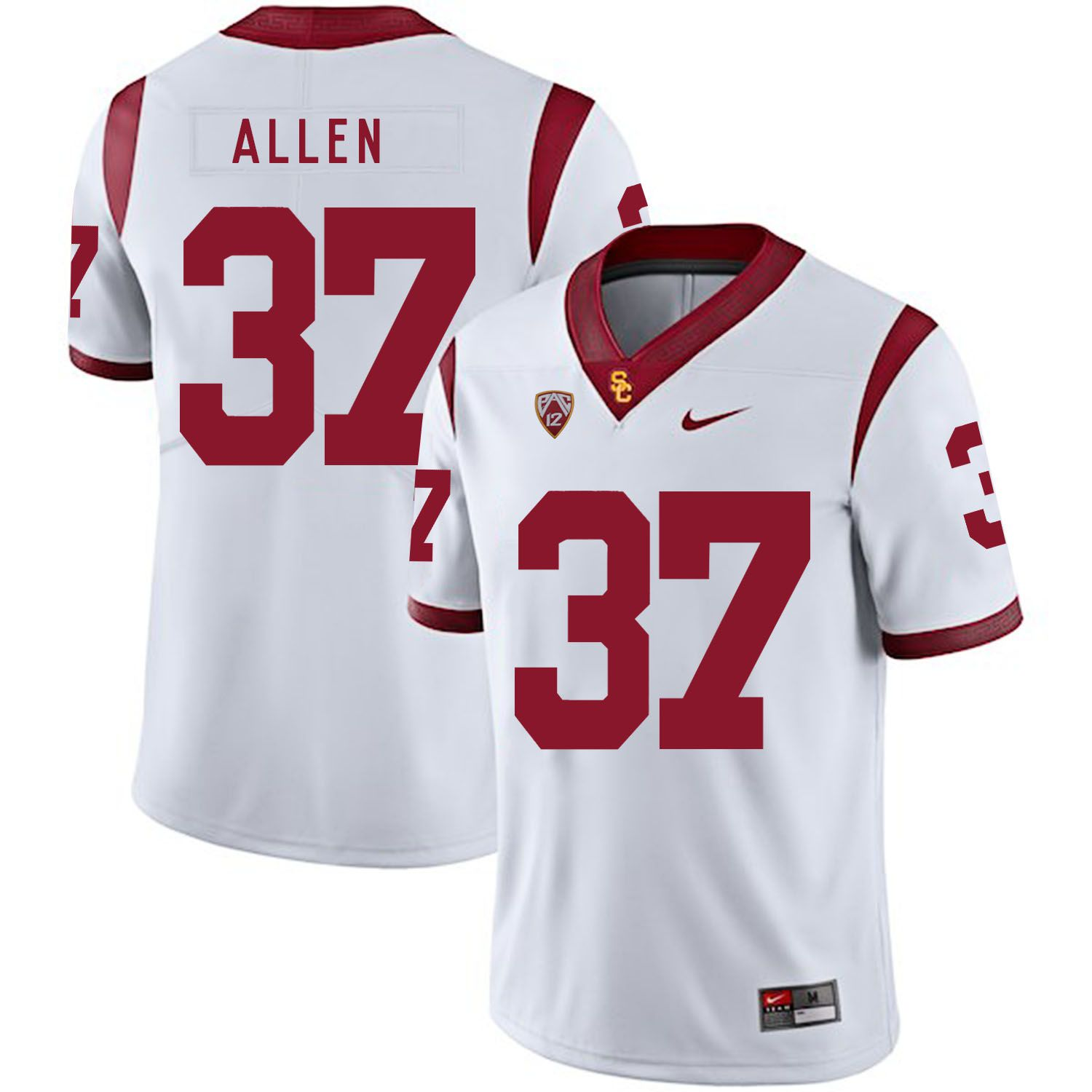 Men USC Trojans 37 Allen White Customized NCAA Jerseys
