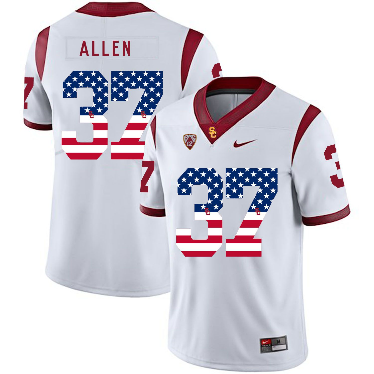 Men USC Trojans 37 Allen White Flag Customized NCAA Jerseys