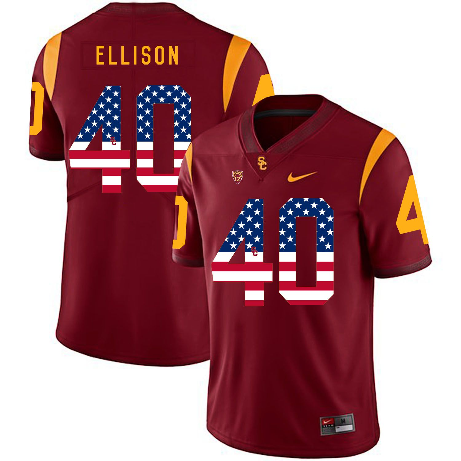 Men USC Trojans 40 Ellison Red Flag Customized NCAA Jerseys