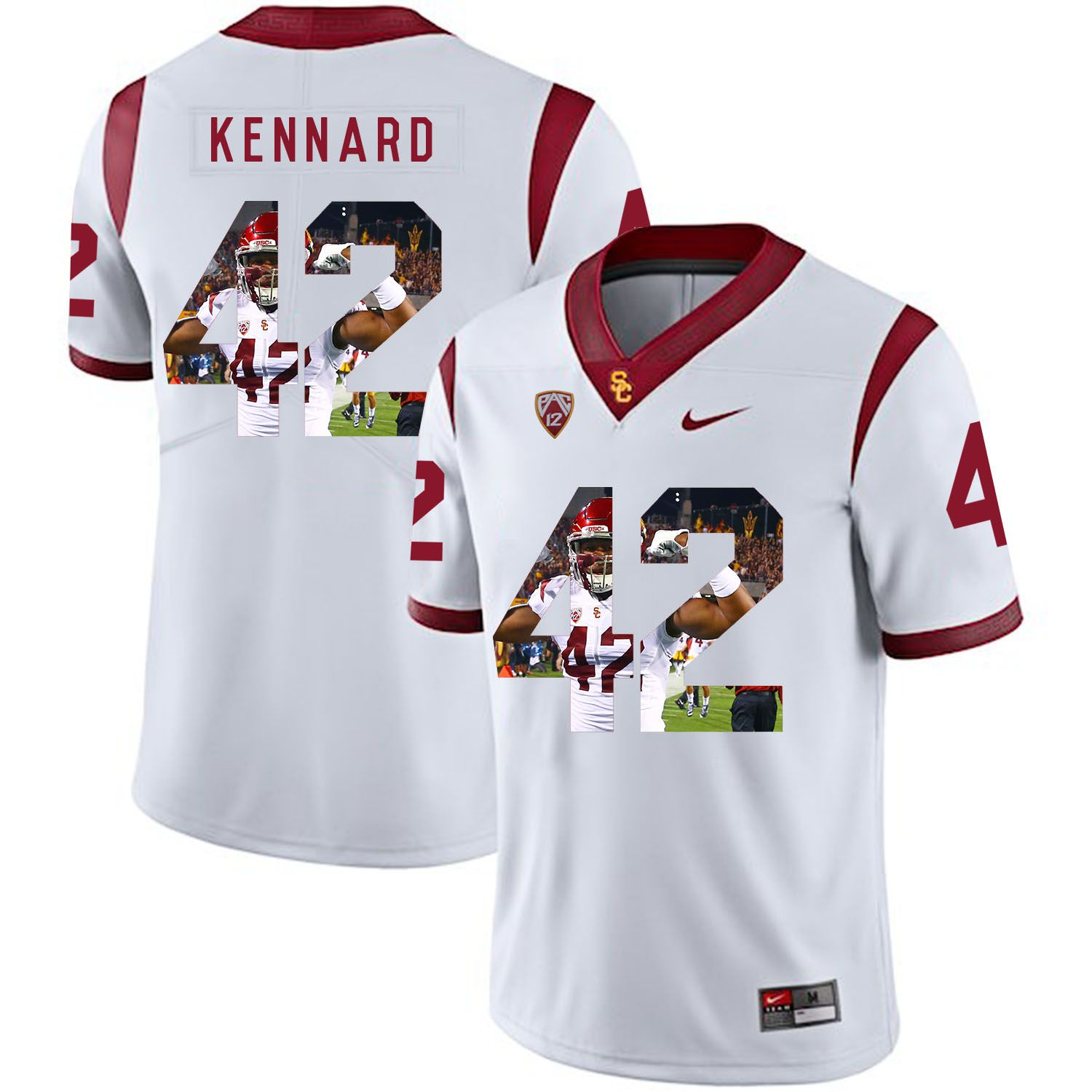 Men USC Trojans 42 Kennard White Fashion Edition Customized NCAA Jerseys