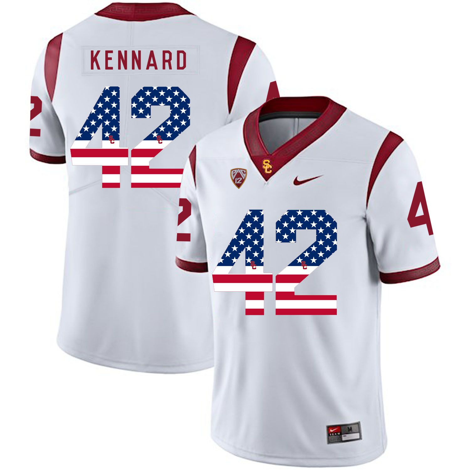Men USC Trojans 42 Kennard White Flag Customized NCAA Jerseys