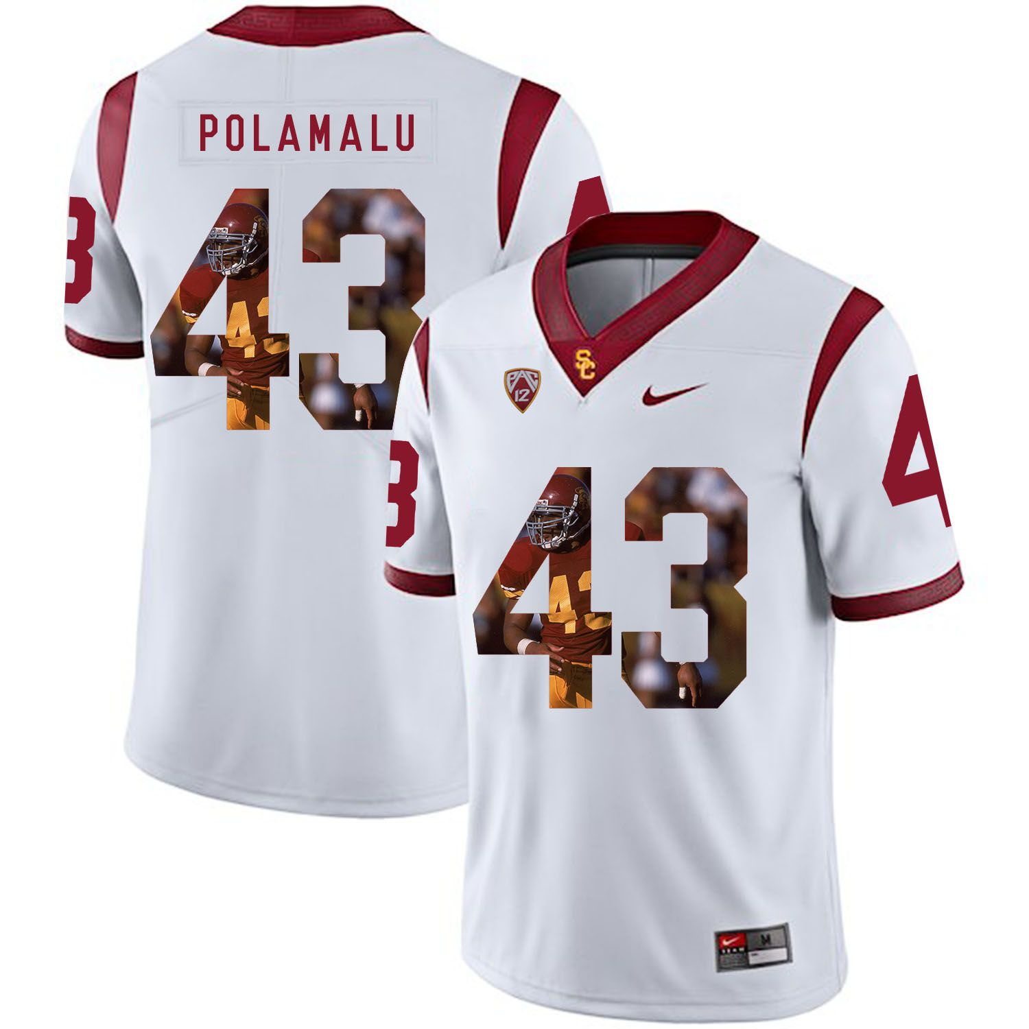 Men USC Trojans 43 Polamalu White Fashion Edition Customized NCAA Jerseys