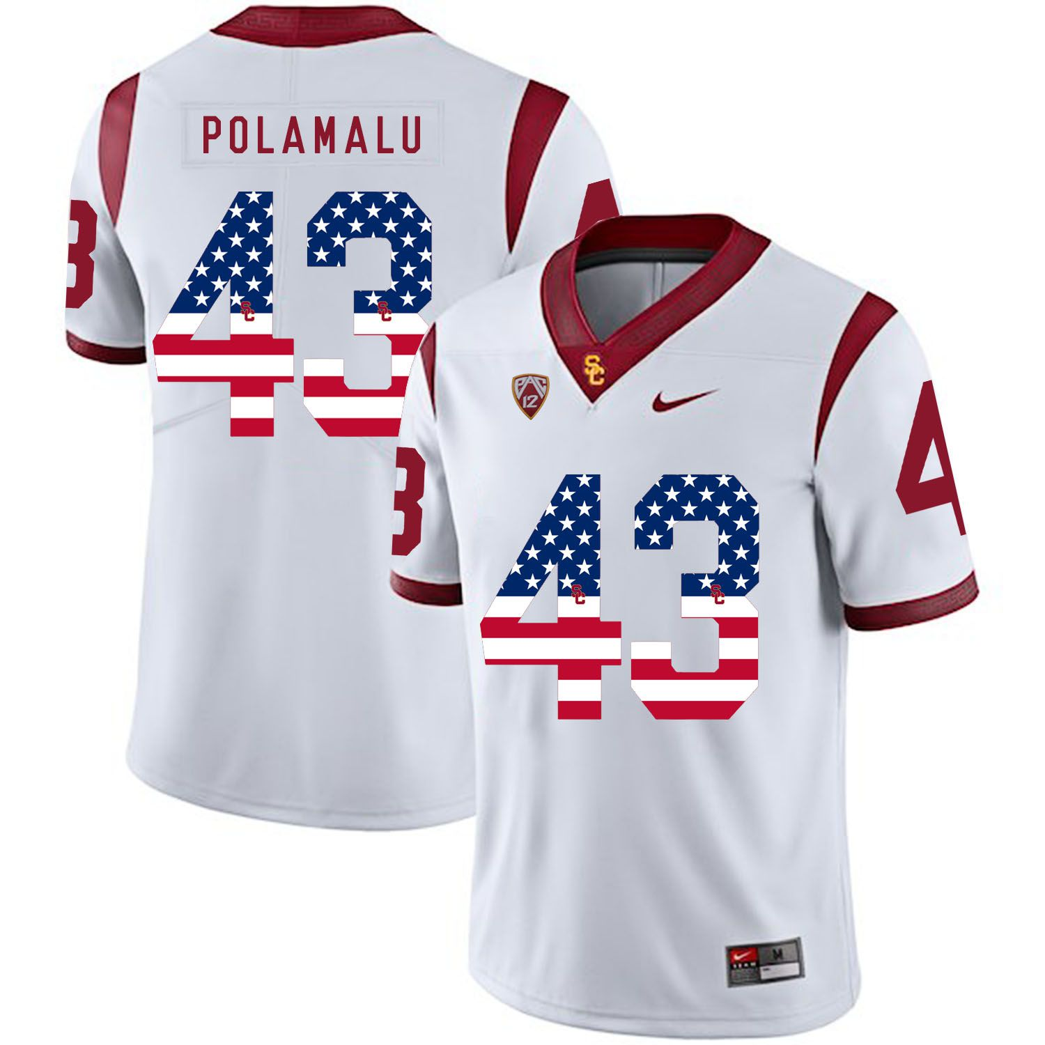 Men USC Trojans 43 Polamalu White Flag Customized NCAA Jerseys