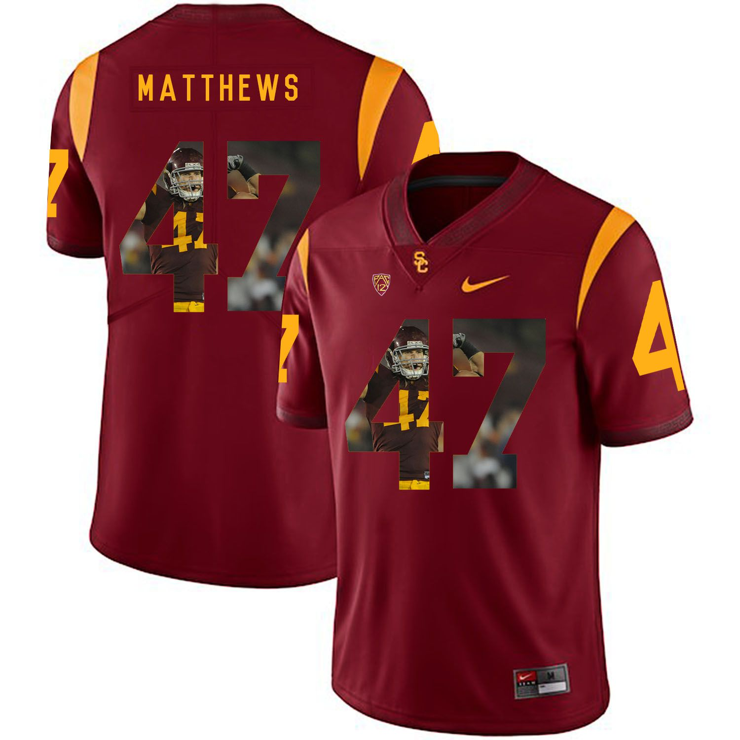 Men USC Trojans 47 Matthews Red Fashion Edition Customized NCAA Jerseys